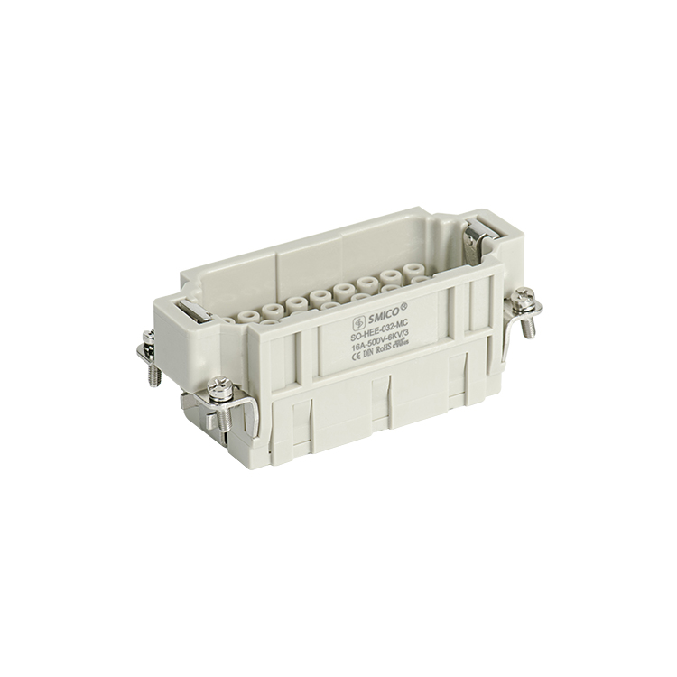 HEE 032 Pin Heavy Duty Rectangular Connector With Crimp Wire Terminal 16A 500V Automotive Connector For Robot Arms